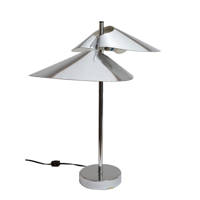 Great Find of a pair Curtis Jere 'Visor' Table Lamps in Chrome. Signed and dated by the Designer. Curtis Jere, 1977. The...