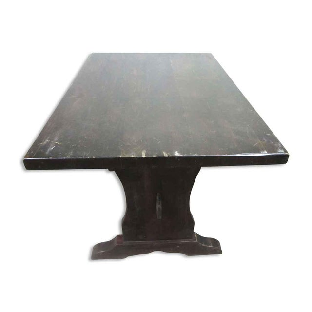 Rustic Dark Wood Trestle Table For Sale - Image 3 of 10