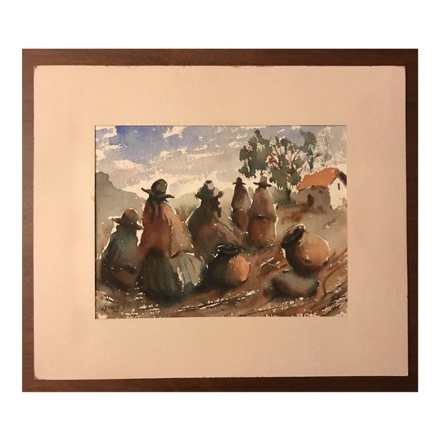Vintage Peruvian Watercolor Painting For Sale