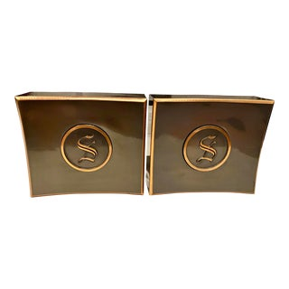 """Mid 20th Century Mid-Century Monogrammed """"S"""" Bookends - A Pair For Sale"""
