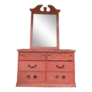 1970s French Coral Painted Antique Dresser & Mirror