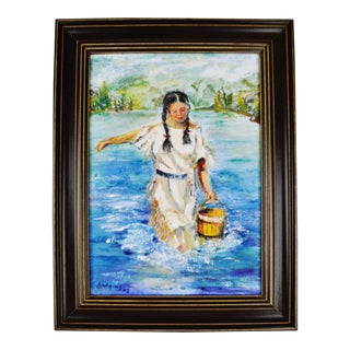 Native American Woman Oil Painting For Sale