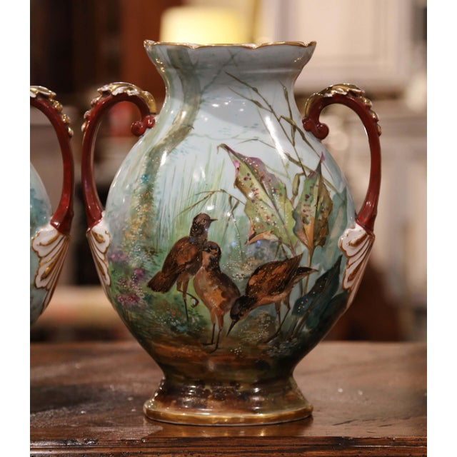 French Pair of 19th Century French Painted and Gilt Porcelain Vases With Bird Decor For Sale - Image 3 of 12