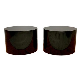 1980s Black Laminate Oval Drum Tables-A Pair For Sale