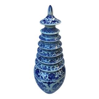 Chinese Blue & White Pagoda Vase