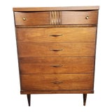 Image of 1960s Bassett Furniture Mid Century Walnut Highboy Dresser For Sale