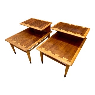 1960s Mid-Century Modern Walnut and Oak Lane Acclaim Step Tables - a Pair For Sale