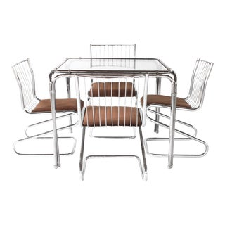 1960s Mid Century Modern Bassett Chrome Dining Set - 5 Pieces