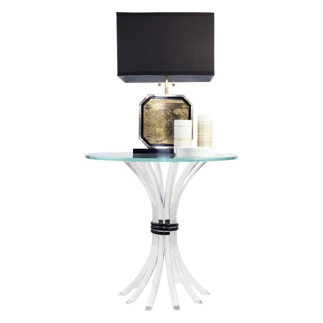 Vintage end table with lucite sheath of wheat table base tied with black acrylic. The Lucite is in excellent vintage...