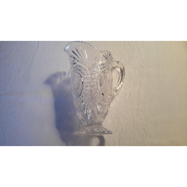 Simply Beautiful Etched Bird Motif Clear Cut Glass Footed Pitcher For Sale - Image 11 of 12