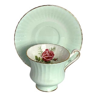 1970s Paragon Mint Green Tea Cup & Saucer With Pink Rose, England For Sale