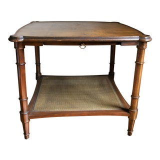 Mid 20th Century Burl Wood and Cane Side Table For Sale