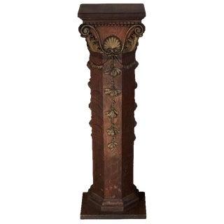 Carved Gilt Columned Oak Pedestal or Plant Stand For Sale