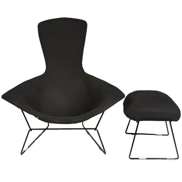 Mid-Century Modern Vintage Bertoia Bird Chair and Ottoman with Full Cover in Classic Black Boucle For Sale - Image 3 of 3
