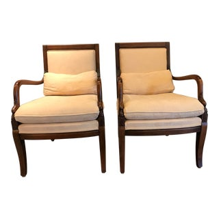 "Regency Style Ethan Allen Carved ""Dolphin"" Armchairs - a Pair For Sale"