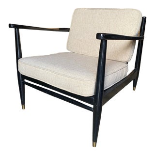 Mid-Century Black Lacquered Lounge Chair For Sale