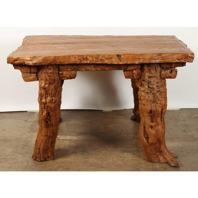 """Brown Chinese Rustic """"Root"""" Table For Sale - Image 8 of 9"""
