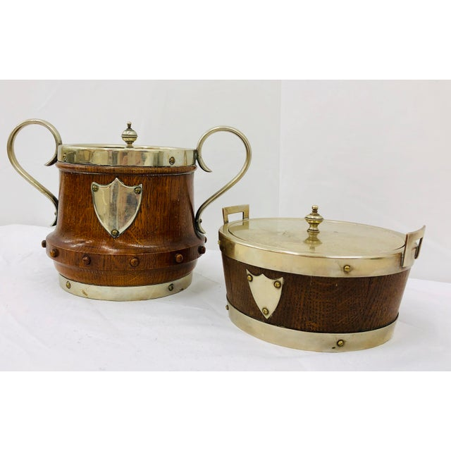 Shabby Chic Antique English Oak & Silver Serving Containers - Set of 2 For Sale - Image 3 of 13