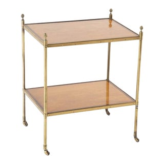 A Maison Jansen Brass Side Table with Two Mahogany and Rosewood Banded Shelves. For Sale
