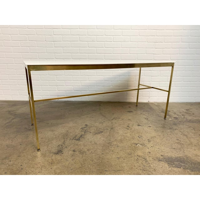 Brass and Vitrolite Console Table by Paul McCobb For Sale In Los Angeles - Image 6 of 13