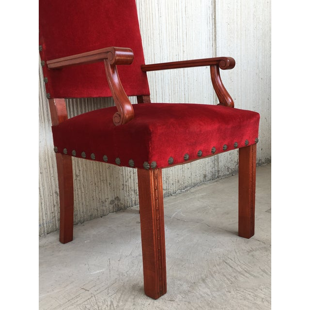 Late 19th Century 19th Century Spanish Revival High Back Armchair With Red Velvet Upholstery For Sale - Image 5 of 13