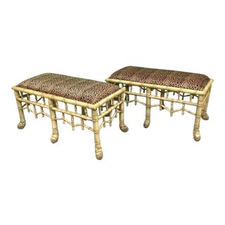 Faux Bamboo Pavilion Style Bench, a Pair For Sale