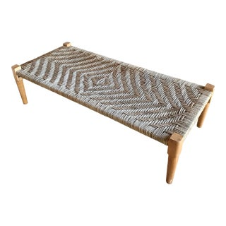 Vintage 20th Century Indian Charpoy Wood Rope Rattan Daybed Chaise Lounge Coffee Table Bench For Sale