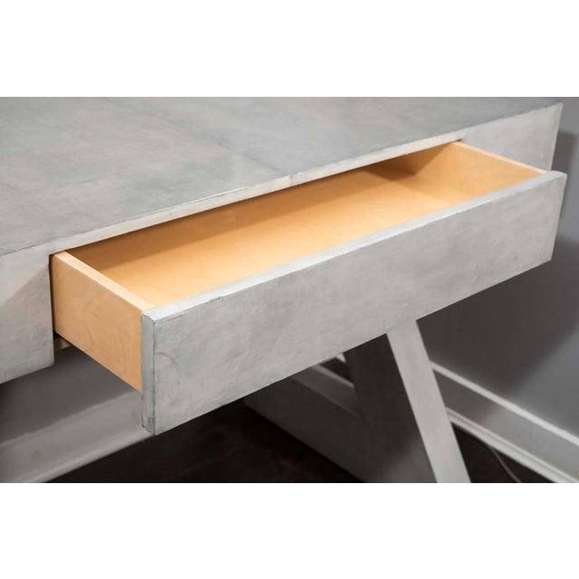 Venfield Custom Storm Gray Parchment Z Desk For Sale - Image 4 of 7