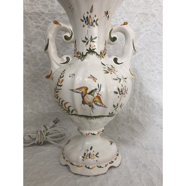 1980s Vintage French Moustiers France Hand Painted Faience Signed Table Lamp For Sale - Image 9 of 11