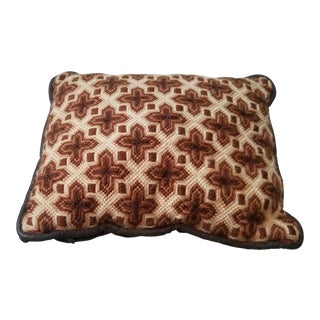 Mid Century Hollywood Regency Neutral Color Needlepoint Pillow For Sale
