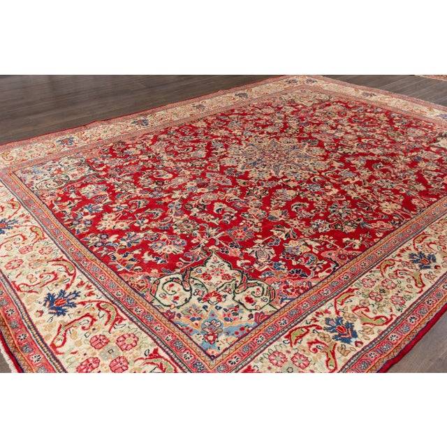 """1920s Antique Mahal Rug, 9'5"""" X 12'8"""" For Sale - Image 5 of 7"""