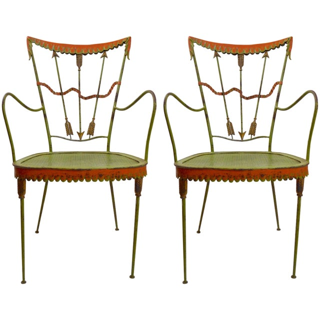 Pair of Tomaso Buzzi Wrought Iron Armchairs For Sale - Image 10 of 10