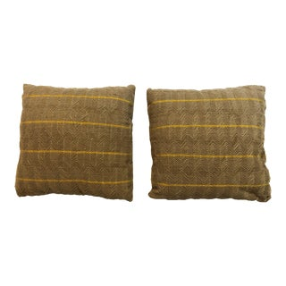 Beige Textured Pillows in Vintage African Textile, Pair For Sale