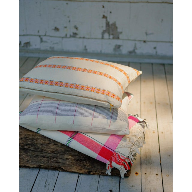 Asima Organic Cotton Handwoven Pillow 18x18 With Insert For Sale In New York - Image 6 of 8