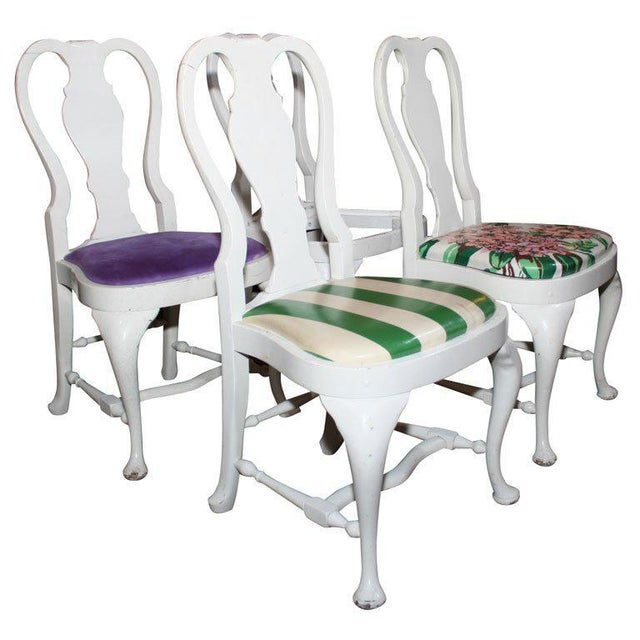 Set of four Dorothy Draper designed Queen Anne style side chairs. Provenance: Greenbrier Hotel.