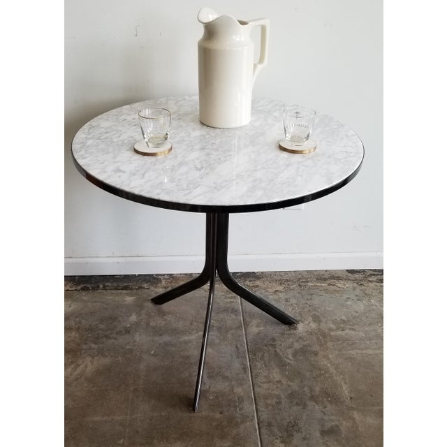 Mid-Century Modern Round Cafe Bistro Table With Carrera Marble Top For Sale - Image 3 of 5