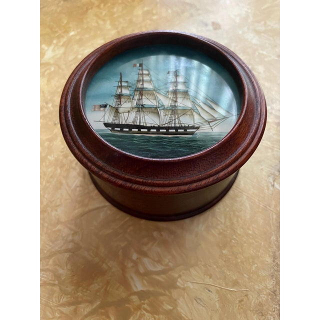 Vintage American Clipper Ship Reverse Painted Wood Box, Round Trinket Box For Sale - Image 11 of 11