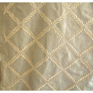 Kravet Lee Jofa Silk Embroidered Diamond Pattern Fabric - 3 Yards For Sale