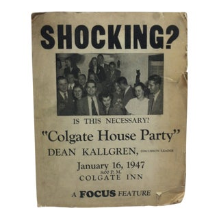 1947 Vintage Colgate House Party Sign For Sale