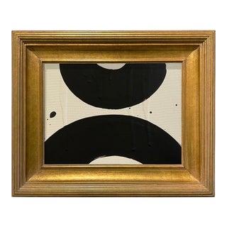Ron Giusti Mini Wagasa 2 Cream and Black Acrylic Painting, Framed For Sale