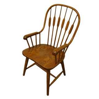 1980s Vintage Richardson Brothers Solid Oak Cattail Back Dining Arm Chair For Sale