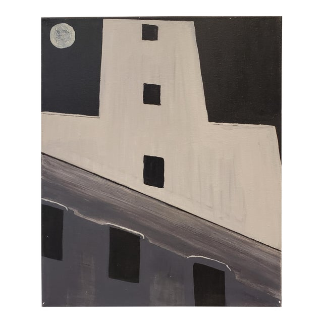Contemporary Painting of Old Silo Building at Night Downtown Dallas For Sale