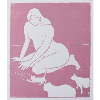 Figurative Original Woodblock Print of Cat Lady For Sale
