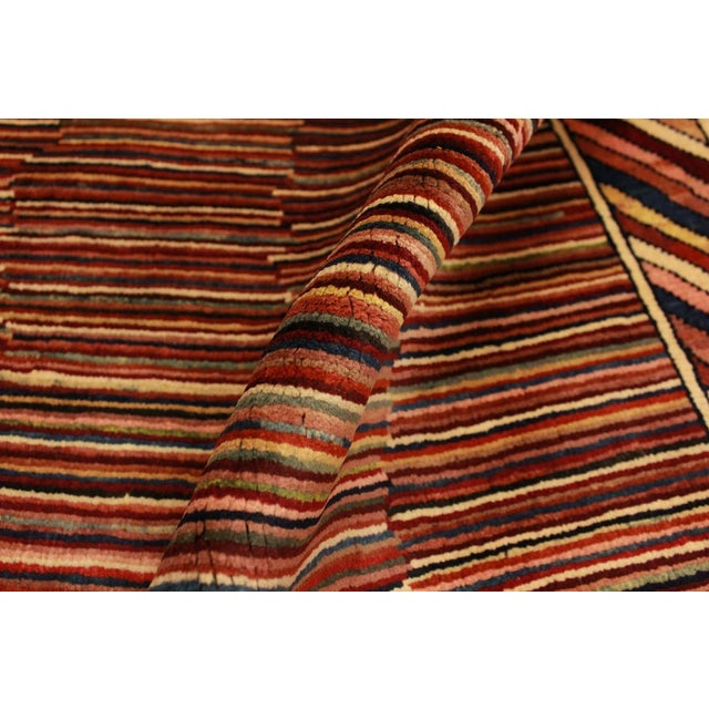 Contemporary Shabby Chic Gabbeh Peshawar Georgian Blue/Red Hand-Knotted Wool Rug -3'3 X 4'9 For Sale - Image 3 of 8