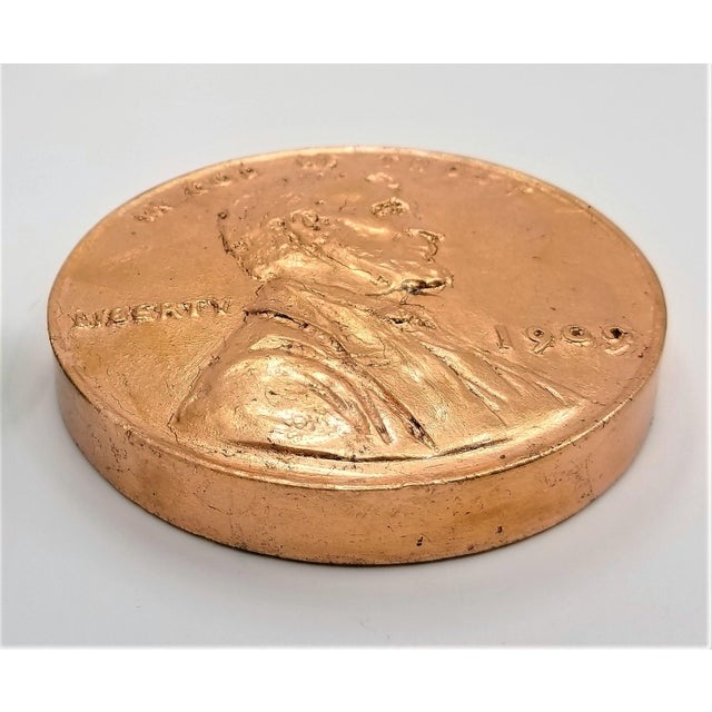 Mid-Century Modern Pop Art Vintage Sculpture of an Overscaled Copper Penny - Signed and Dated - Andy Warhol Abstract Mid Century Modern Surrealism Palm Beach For Sale - Image 3 of 13