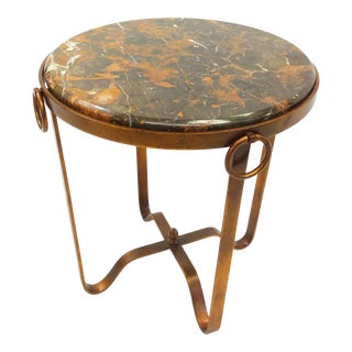Contemporary Stone and Brass Finish Side Table For Sale