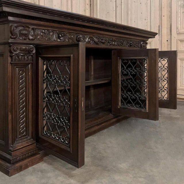 1900s Antique Italian Walnut Renaissance Buffet/Credenza, Bookcase With Wrought Iron For Sale - Image 5 of 8