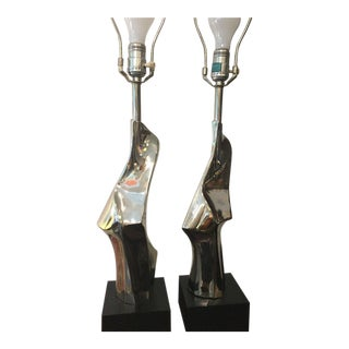 Laurel Chrome Sculptural Table Lamps For Sale