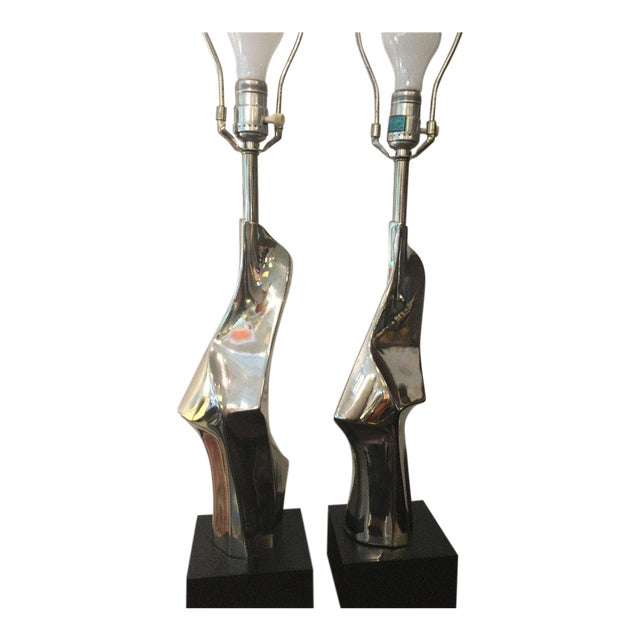 Laurel Chrome Sculptural Table Lamps For Sale