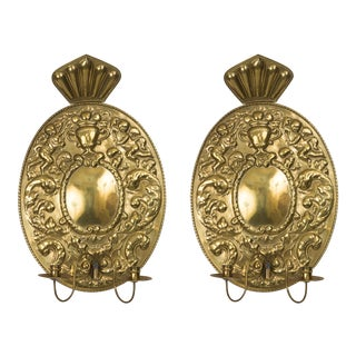 Pair of Dutch Baroque Style Brass Sconces For Sale